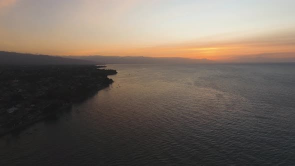 Thumbnail for Sunset on the Sea Coast. Bali, Amed, Indonesia