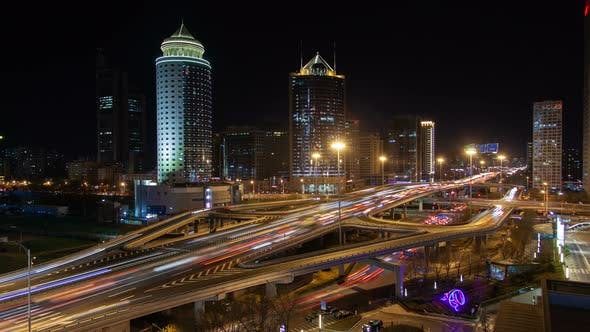 Thumbnail for Chinese Beijing Downtown Huge Overpass Interchange Timelapse