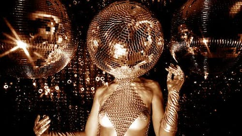 Disco Woman Discoball Glitterball Party Music