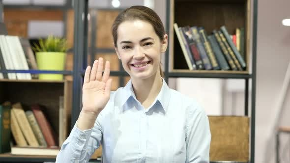 Thumbnail for Hi, Hello, Woman Waving Hand, Indoor Office
