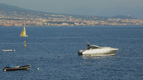 Beautiful white yacht floating in Gulf of Naples in Italy, luxury hobby, tourism
