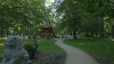 The Chinese garden in Lazienki Park