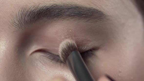 Thumbnail for Macro Shot of Applying Makeup To the Woman's Eyelid, Evening Makeup, Smokey Eyes, Makeup in Progress