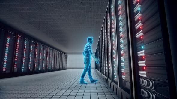 Database Adminstrator Front Of Big Server 4k