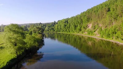 Aerial View of the River South Ural Russia