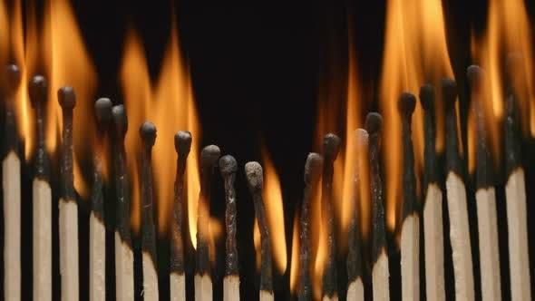 Thumbnail for Row of burning matchsticks strongly
