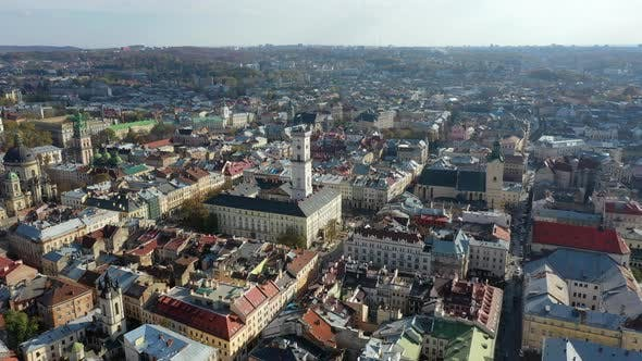 Thumbnail for Aerial Drone Video of Lviv Old City Center - Roofs and Streets, City Hall Ratusha