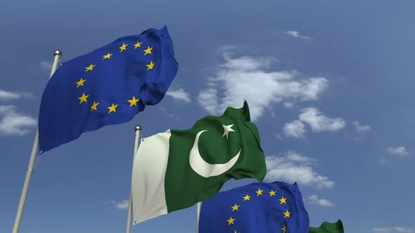 Waving Flags of Pakistan and the European Union