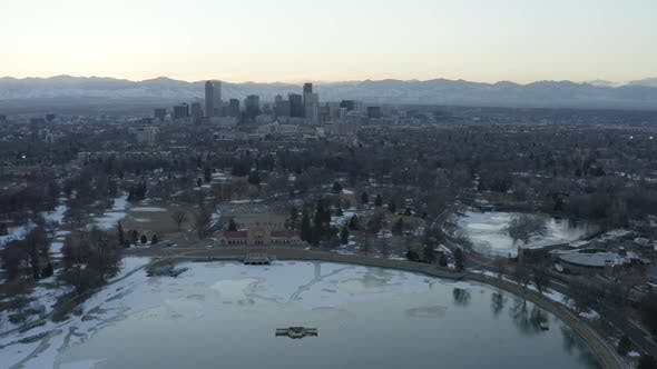 Thumbnail for Denver Colorado Buildings Rocky Mountains Sunset Aerial Shot