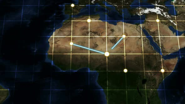 World Map Connection Glowing Line