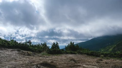 Timelapse of Moving Low Clouds in the Carpathian Mountains. Cumulus Dramatic Sky