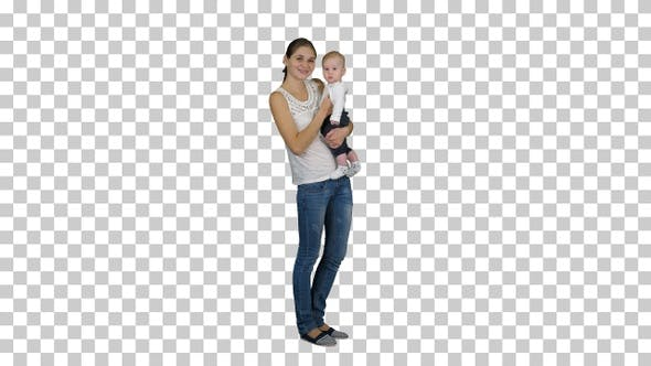 Thumbnail for Cute Baby Boy in Mothers Hands Looking to Camera, Alpha Channel