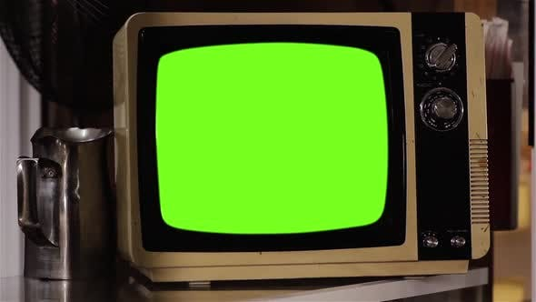 Thumbnail for Old TV turning On Green Screen with Noise and Color Bars.