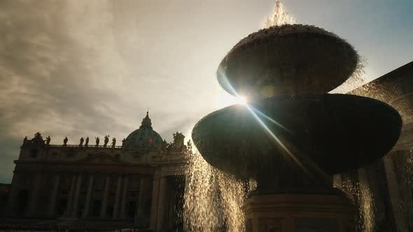 Thumbnail for The Famous Fountain of San Pietro Italian Square with Saint Peter Church Columns, in Rome, Italy