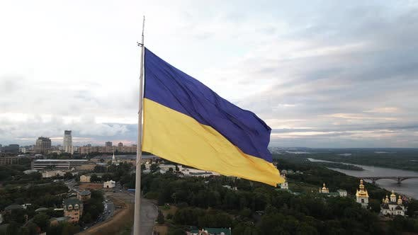 Thumbnail for Kyiv - National Flag of Ukraine By Day. Aerial View. Kiev. Slow Motion