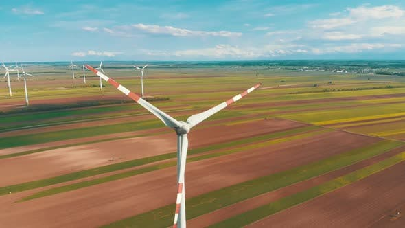 Thumbnail for Aerial View of Wind Turbines Farm in Field. Austria. Drone View on Energy Production