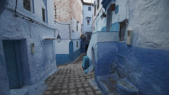 Cover Image for SLOW MOTION: BEAUTIFUL BLUE CITY, CHEFCHAOUEN STREET IN MOROCCO