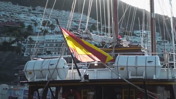 Spain Flag on Boat