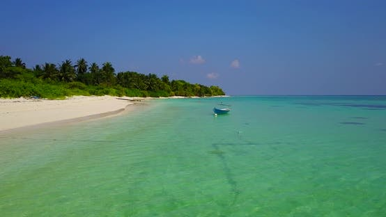 Thumbnail for Natural drone tourism shot of a paradise sunny white sand beach and aqua blue ocean background