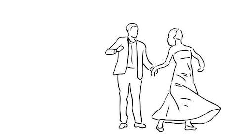 «Dance de couple dessiné à la main» avec fond transparent