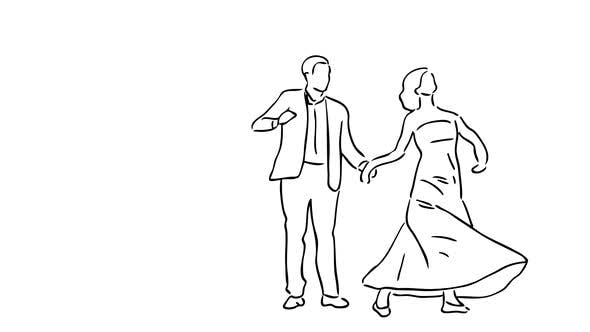 """Hand Drawn Couple Dance"" with Transparent Background"