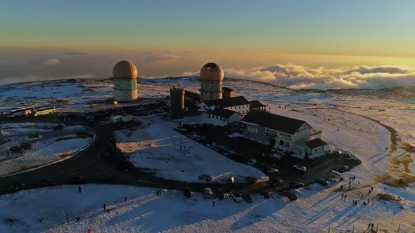 Thumbnail for Beautiful Winter Aerial Flight Over Mountain Serra da Estrela Landscape Portugal