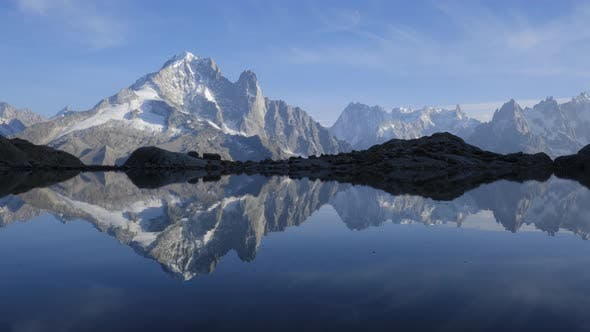 Cover Image for Colourful Sunset on Lac Blanc Lake in France Alps