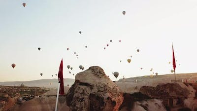 Hot Air Balloons Around the Rocks