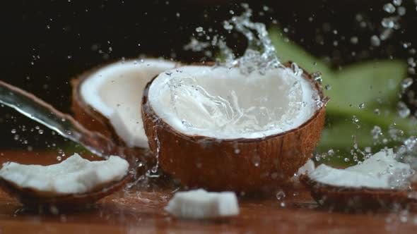 Thumbnail for Coconut water splashing in super slow motion, shot with Phantom Flex 4K
