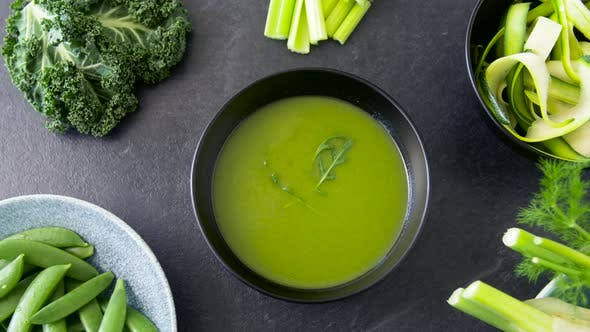 Thumbnail for Close Up of Vegetable Green Cream Soup in Bowl 56