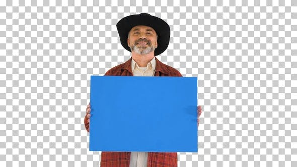 Thumbnail for Smiling senior man in a hat holding blank placard, Alpha Channel