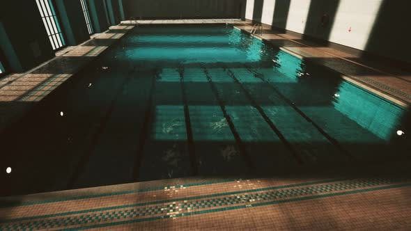 The View of an Empty Public Swimming Pool Indoors