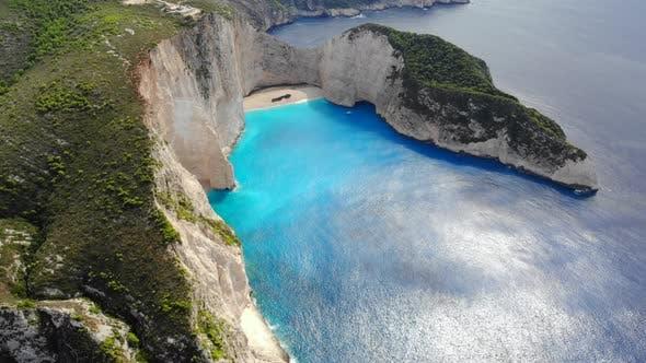 Top View Navagio Bay Shipwreck Beach Greece, Zakynthos