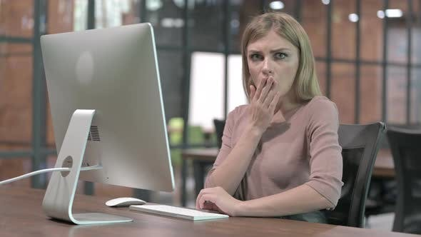 Thumbnail for Young Woman Get Shocked While Working on Computer