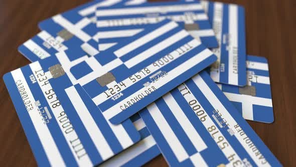Thumbnail for Pile of Credit Cards with Flag of Greece