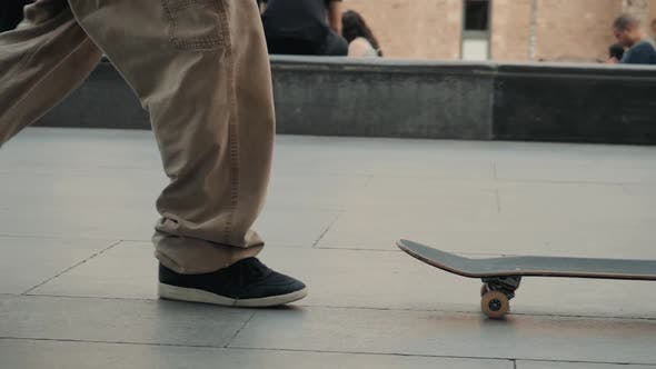 Thumbnail for BARCELONA SPAIN 20 MAY 2019: Group of Skaters Friends Performing Trick Nollie Flip Noseslide in