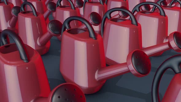 A Lot Of Watering Cans In A Row 4k