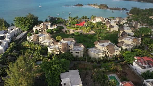 Island of Mauritius View From the Drone Magnificent Clouds and the City