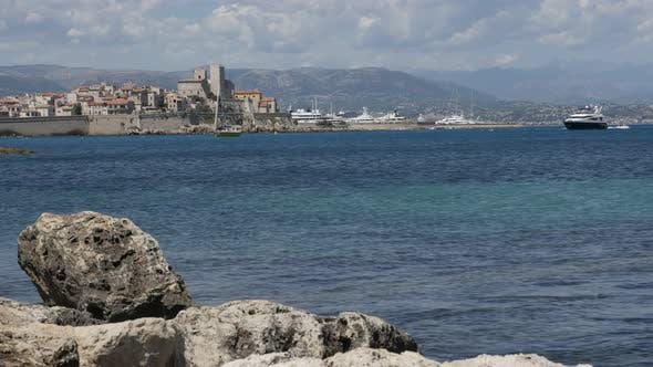 ANTIBES, FRANCE - JULY 2017 City fortress on French riviera with beautiful  blue sea