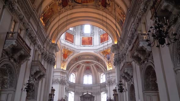 Cathedral in Salzburg, Austria. Baroque Cathedral of Roman Catholic Archdiocese, Indoor.