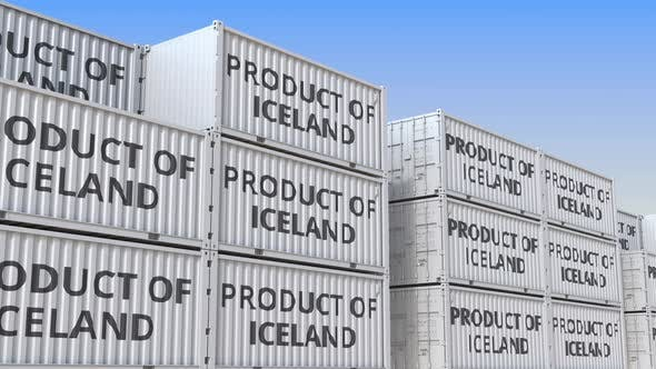 Thumbnail for Cargo Containers with PRODUCT OF ICELAND Text