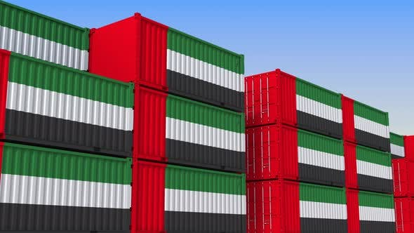 Thumbnail for Container Yard Full of Containers with Flag of the UAE