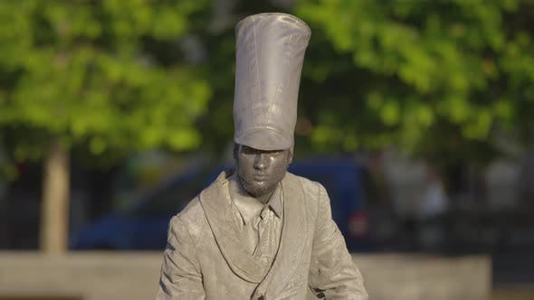 Thumbnail for Silver living statue with tall hat