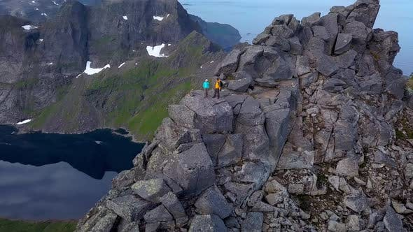 Thumbnail for Aerial View of Tourists on Peak