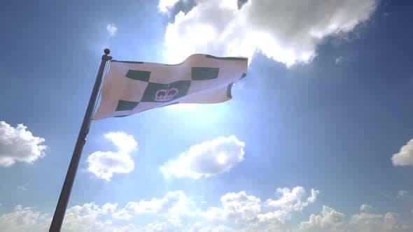 Charlottetown City Flag (Canada) on a Flagpole V4