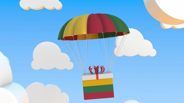 Carton with Flag of Lithuania Falls with a Parachute