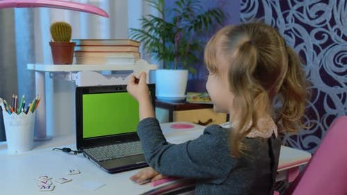 Online Kids Distance Remote Education Children Elearning Lesson Child Girl Pupil Doing Homework