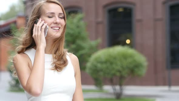 Thumbnail for Talking on Phone, Beautiful Girl Attending Call, Outdoor