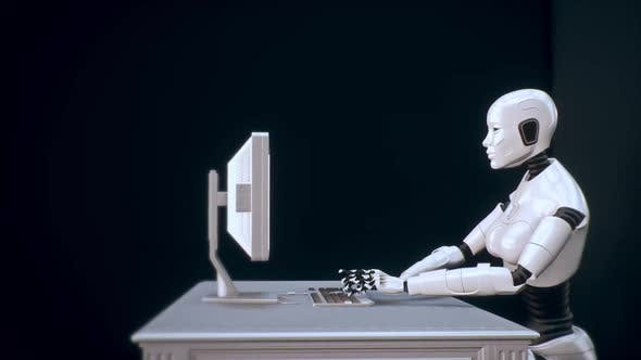 Thumbnail for Robot With Artificial Intelligence And Machine Learning Uses Computer 02