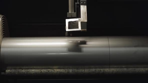 Thumbnail for Close-up of Machine Cutting Curves on Steel Metal Pipe. Equipment Working on Production Site. Steel